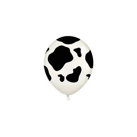 Black on white cow print latex balloon