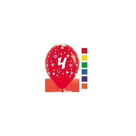 Number 4 Print Balloons.