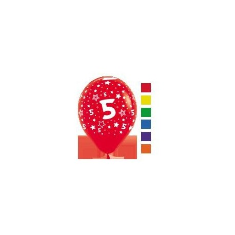 Number 5 Print Balloons.
