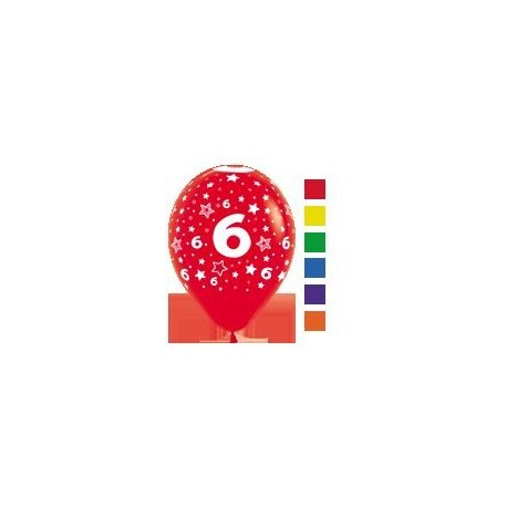 Number 6 Print Balloons.