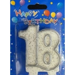 Number candle silver 18 x 1