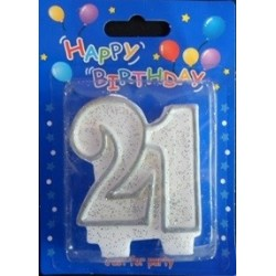 Number candle silver 21 x 1