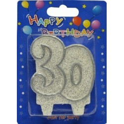 Number candle silver 30 x 1