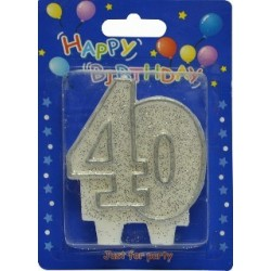 Number candle silver 40 x 1