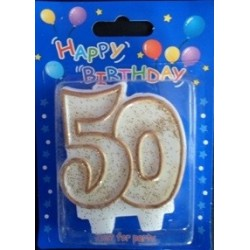 Number candle gold 50 x 1