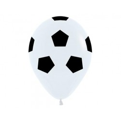Black on white soocer ball print latex balloon