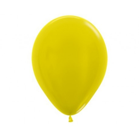 Plain Metallic Yellow Balloons - Inflate your balloons in store.