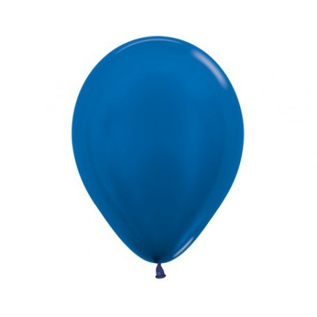 Plain Metallic Pearl Blue Balloons - Inflate your balloons in store.