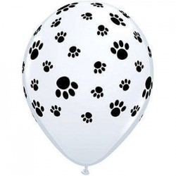 Paw Print Latex Balloon White