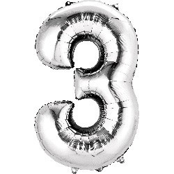Silver 3 Supershape Foil Balloon