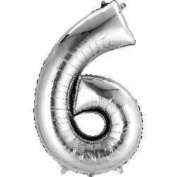 Silver 6 Supershape Foil Balloon