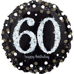 "18"" Holo: Sparkling Birthday 60 Foil Balloon"