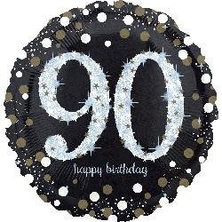 "18"" Holo: Sparkling Birthday 90 Foil Balloon"