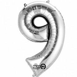 Silver 9 Supershape Foil Balloon