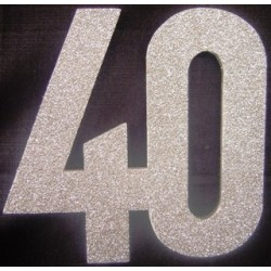 40th Poly 30cm glitter - silver
