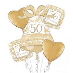 50th Anniversary Foil Balloon Bouquet - www.mypartysupplies.co.za