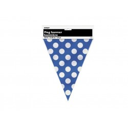Royal Blue Dots Plastic Bunting (3.6m)