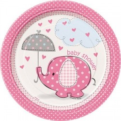Pink Umbrella Elephant Plates