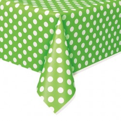 Lime Green Dots Plastic Tablecloth