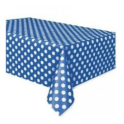Royal Blue Dots Plastic Tablecloth