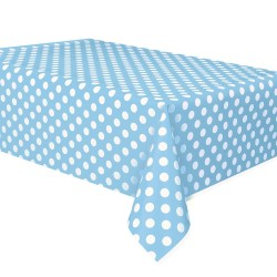 Powder Blue Dots Plastic Tablecloth