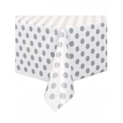 Silver Dots Plastic Tablecloth