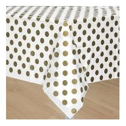 Gold Dots Plastic Tablecloth