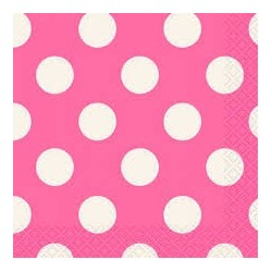 Hot Pink Dots Beverage Serviettes (pack of 10)