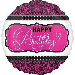 Pink Black and White Birthday Foil Balloon