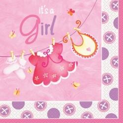 Baby Girl Clothesline Lunch Serviettes