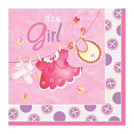 Baby Girl Clothesline Lunch Serviettes