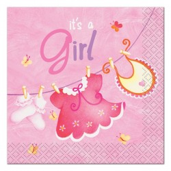 Baby Girl Clothesline Beverage Serviettes