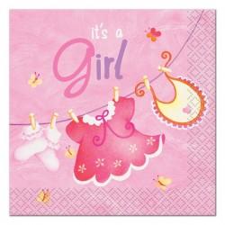 Baby Girl Clothesline Beverage Serviettes