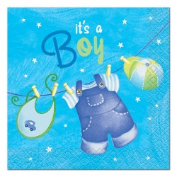 Baby Boy Clothesline Beverage Serviettes