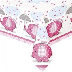 Pink Umbrella Elephant Tablecloth