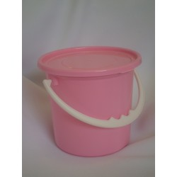 Pink plastic party buckets