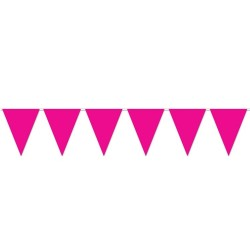 Hot Pink Plastic Flag Bunting