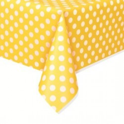Yellow Dots Plastic Tablecloth