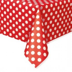 Red Dots Plastic Tablecloth