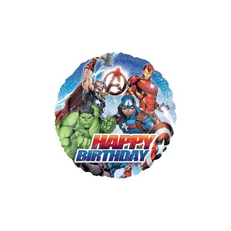 Avengers Assemble Happy Birthday Round Foil Balloon x 1