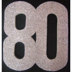 Poly 80th 30cm glitter - silver