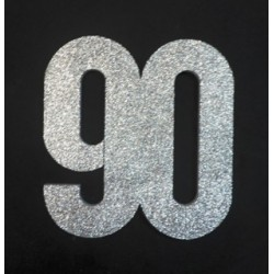 Poly 90th 30cm glitter - silver