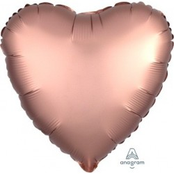 Satin Rose Copper Heart  Heart Foil Balloon