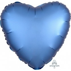 Satin Azure Heart  Heart Foil Balloon
