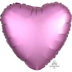 Satin Flamingo Pink Heart Foil Balloon