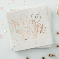 Metallic Star - Rose Gold Serviettes (pk/20)