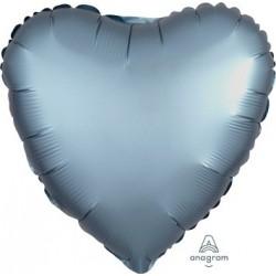 Satin Steel Blue Heart Foil Balloon