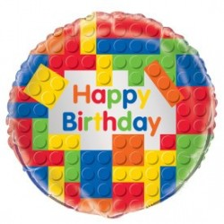 Building Blocks Happy Birthday foil balloon - www.mypartysupplies.co.za