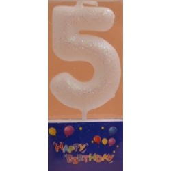Number candle silver 5 x 1