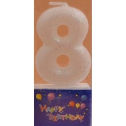 Number candle silver 8 x 1
